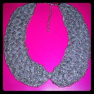 Silver beaded collar necklace